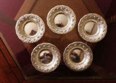 Set Of 5 Fancy Sterling Silver Nut Dishes by Alvin, No Monos, Free USA Shipping