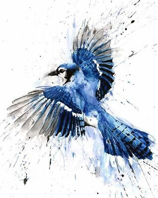 00058 BLUE BIRD FLYING WATERCOLOUR ART IMAGE Wall Print POSTER AU