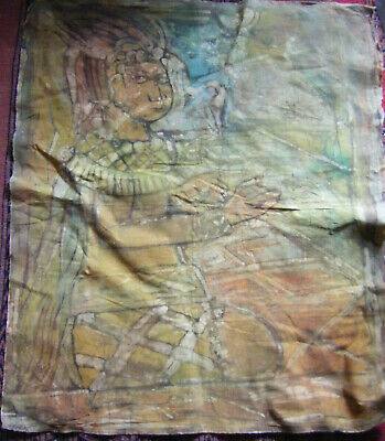 Large Vintage Fabric Batik Picture / Painting - Ideal for Framing 35'' X 29''