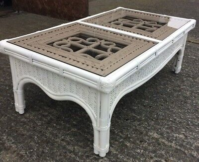 Conservatory Hall Coffee Lamp Table White Hand Painted, Waxed Bamboo Cane Wicker