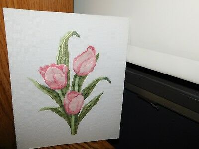 Pink Tulip Cross Stitch Panel COMPLETED Handmade