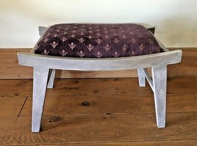 Footstool Grey Paint & Silver Wax Vintage Retro Upcycle Purple Upholstery Rustic