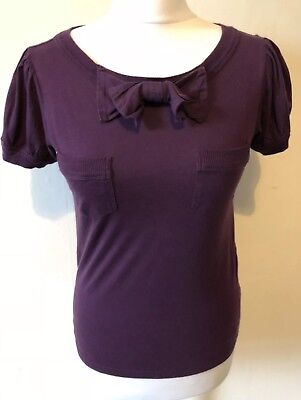 c2069aaa5ac3 Marc By Marc Jacobs Burgundy Tshirt Size S 100% Cotton Bow Scoop Neck  Keyhole