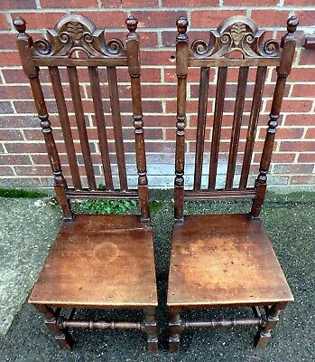 Pair Edwardian antique Arts & Crafts solid oak Liberty & Co. hall side chairs