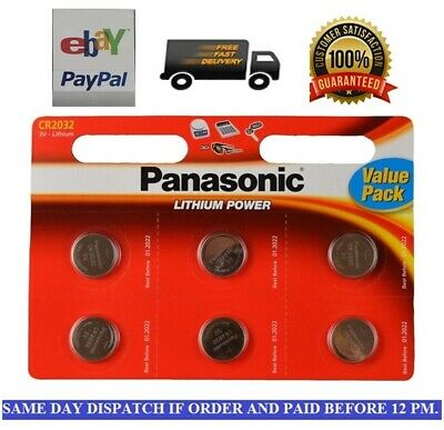 6 X Panasonic CR2032 Lithium Cell 3V Battery Batteries, DL2032, BR2032, for car