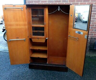 Art Deco antique fully fitted Compactum oak wardrobe armoire gentlemans cupbaord