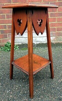 Victorian antique Arts & Crafts solid fretwork oak plant jardiniere stand table