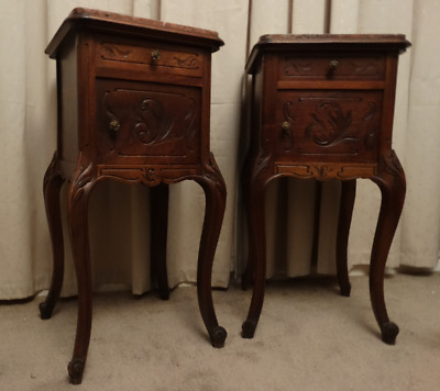 Pair of Marble Top French Carved Oak Pot Cupboards (Courier)