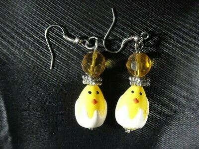"Pier One Imports- Dangling Easter Earrings -Chicks In Egg-  2"" Long -New"