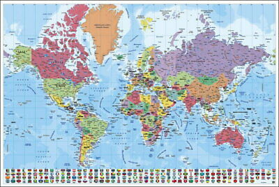 90538 MAP OF THE WORLD POLITICAL WORLD MAP WITH FLAGS Decor WALL PRINT POSTER DE