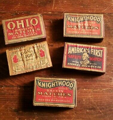 Lot of 5 Antique Wooden Match Box,Safety Matches Wood,Match,Ohio,Knighthood