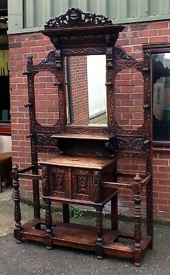 Victorian antique Green man solid carved oak country house hallstand coat rack