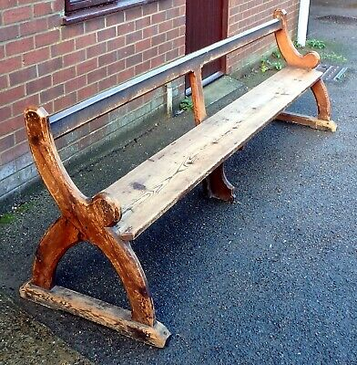 Victorian antique Arts & Crafts Gothic Pugin style large pine pew bench settle