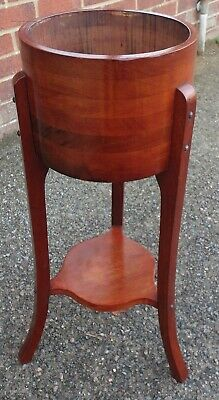Edwardian antique Arts Crafts coopered mahogany jardiniere stand planter table