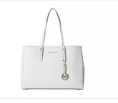 df5471193404 Michael Kors Large East West Travel Jet Set Saffiano Leather Tote In Optic  White