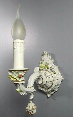 Italian Porcelain Sconce Antique Flowers Wall Light Capodimonte Lamp Fixture
