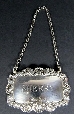 Antique Style SHERRY Solid Sterling Silver Liquor Bottle Decanter Hang Tag Label