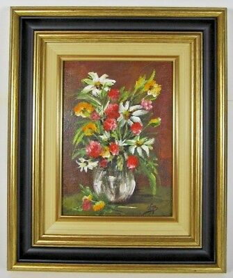 French Vintage Painting Framed Oil on Canvas Flower Still Life Signed Art c1950