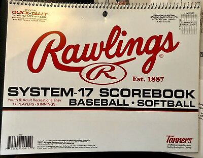 b561cd25017a Rawlings System-17 Baseball Softball Scorebook Score Book Official  Quick-Tally