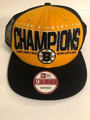 a18813655ff Boston Bruins New Era NHL 6x Stanley Cup Champions Hat Snap back 9Fifty Cap