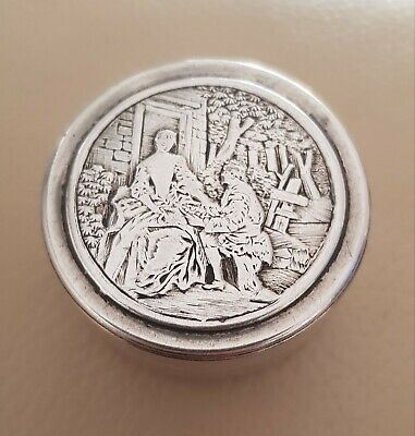 Antique Victorian? Solid Silver Snuff Box/pot Club/Tree Hallmark Courting Couple