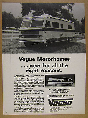 1975 VOGUE DODGE chassis Motorhome RV photo vintage print Ad