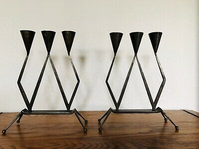 Hugo Berger (goberg) RARE German Arts and crafts iron Candle Sticks Candelabras