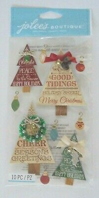 Jolees Boutique Christmas Word Trees Scrap Booking Stickers
