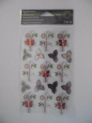 Recollections Christmas Candy Canes & Poinsettia Scrap Booking Stickers
