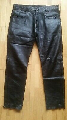 Mens Leather Motorcycle Trousers W40 Cruiser Biker 5 Pockets
