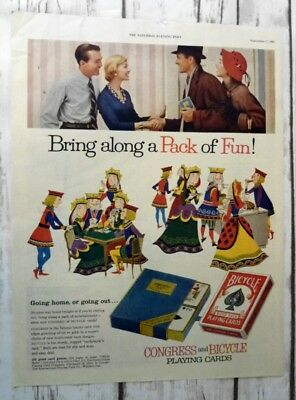 1955 BICYCLE PLAYING CARDS Print Ad Congress Playing Cards Magazine Ad (A218)