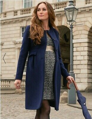 THIS SEASON Seraphine Luxe Navy Blue Cashmere Blend Maternity Coat 8-10 RRP £195