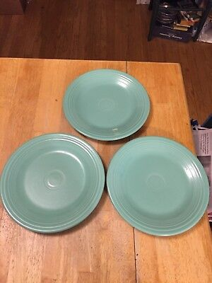"Set Of 3 FIESTA HOMER LAUGHLIN Dinner Plates 10.5"" Fiestaware Turquoise"