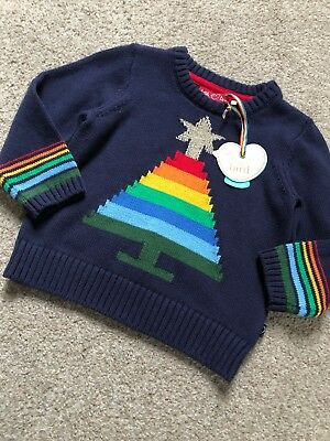 Little Bird By Jools Oliver Christmas Tree Jumper Retro 12-18 Months