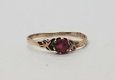 Antique Victorian Vintage Childs 10k Yellow Gold Red Stone Ring Size 3