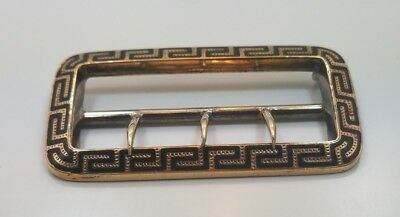 Antique Victorian Edwardian 10k Yellow Gold Black Enamel Belt Buckle