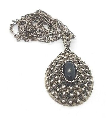 Vintage Antique Sterling Silver 925 Middle Eastern? Wood Ladied Necklace
