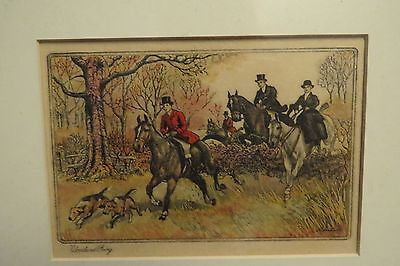 """Vintage Foxhunt & Foxhound Framed Greeting Card 1920S """"WOODLAND GOING"""""""