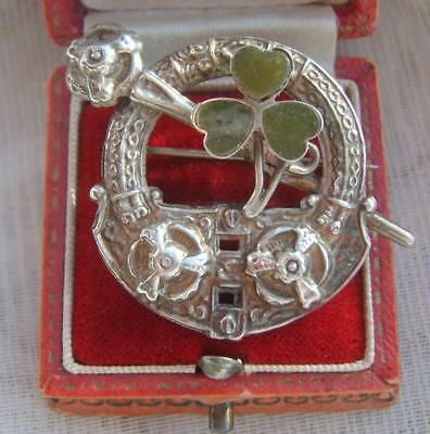 Antique Irish Celtic Connemara Marble Shamrock Pseudo Penannular Tara Brooch