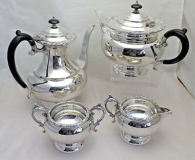 Vintage Silver Plate 4 Piece Tea Service Tea Pot Coffee Pot Sugar & Cream