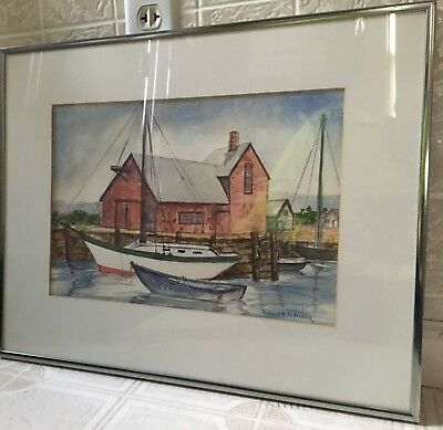 Old Vintage Signed Watercolor Painting Rockport Mass Motif No 1 Seaport DeFronzo