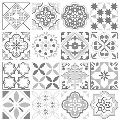 Grey Mosaic / Pattern Tile Stickers for 100mm x 100mm / 4 x 4 Inch Design G03
