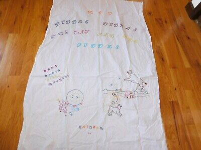 Hey Diddle Cat and Fiddle Hand Embroidered Panel Vintage Handmade Nursery Rhyme