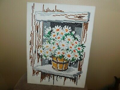 Daisy Basket Cross Stitch Panel COMPLETED Handmade 1976 Columbia Minerva