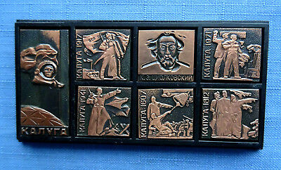 Russian Set of 7 Badges Pins Space Tsiolkovsky 600 years the city of Kaluga