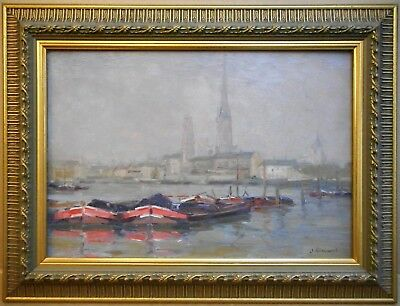 Normandy Barges. Oil by listed French Impressionist Jules Ribeaucourt circa 1910