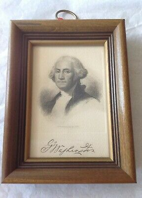 Antique 1880's Etching Engraving George Washington Signed H.R. Hall's Sons Frame