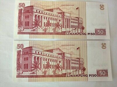 2 Philippines 50 Bank Notes With Consecutive Numbers. Ideal For Collection.