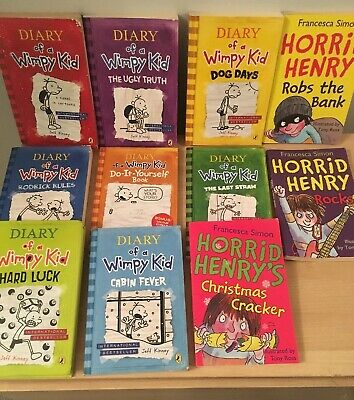 Diary Of A Wimpy Kid Books Set Bundle - Jeff Kinney Horrid Henry Francesca Simon
