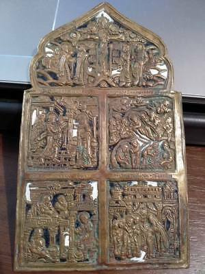 Ancient bronze icon in enamels. Rare